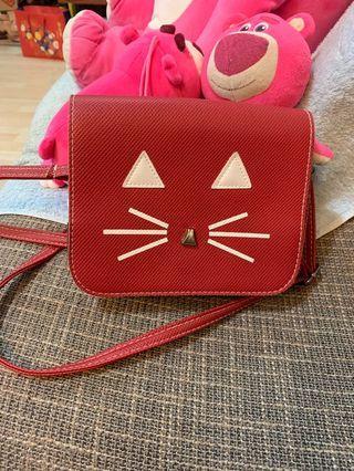 紅色小貓皮質小方包