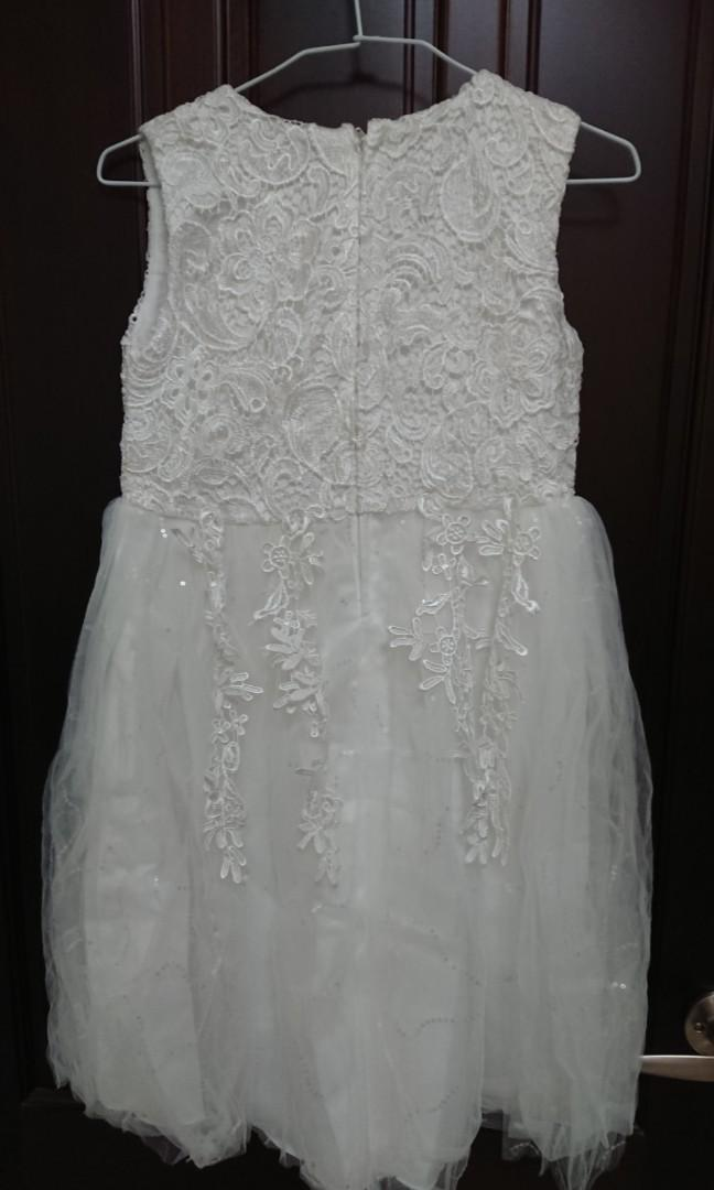 女童白色蕾絲洋裝禮服附蝴蝶結(160cm/6-8歲)