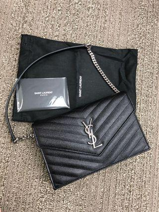 (現貨) 💜補貨到 2色 YSL Saint Laurent monogram handbag 手袋 銀扣/ 金扣 19x12cm