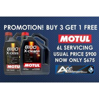 [Buy 3 Free 1] Servicing Package - Motul 8100 X-Clean+ 5W30/ X-Cess 5W40