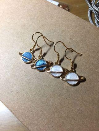 星球耳環(藍/白)