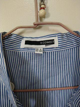 H:CONNECT綁帶藍白條紋造型襯衫