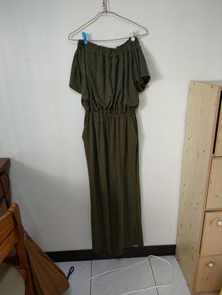 深綠平口連身褲