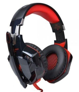 T520 KOTION EACH G2000 Over-ear Gaming Headphone with Mic Stereo Bass LED Light for PC Black & Red
