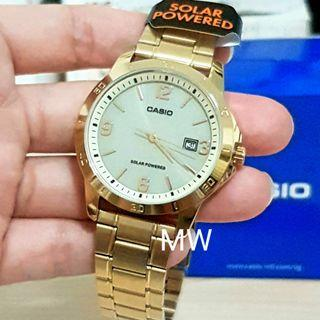 Genuine casio gold tone solar power men's watch mtp-vs02g-9a brand new