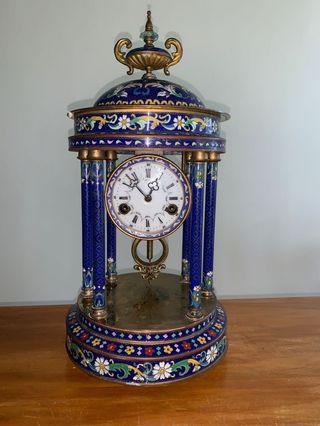 Large European Antique Bronze and Cloisanne Clock