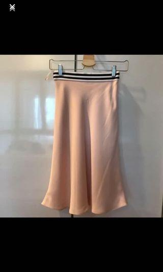 Topshop peachy satin skirt