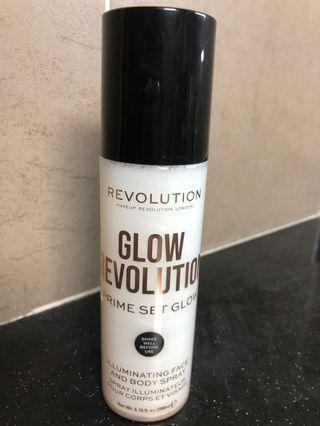 Glow setting spray