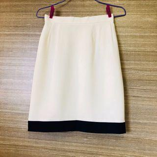 Japanese Apobbico off white/cream and navy blue office skirt, A-line mini work skirt, satin lining, back zipper, designer high quality and chic style
