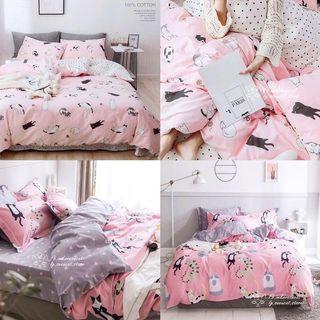 🎏ins貓咪粉色系純棉床笠被套🐈