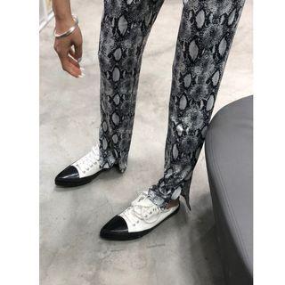 VM 春夏新款 小眾前衛復古造型感 鬆緊腰顯瘦蛇紋鉛筆開叉長褲