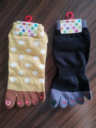 全新 日本五趾襪 西瓜 豬仔 心心