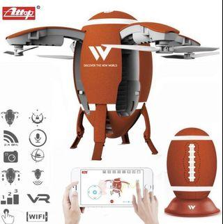 🚚 (E2797) Attop W5 2.4GHz Foldable Flying Egg Drone WIFI FPV Foldable Selfie Drone RC Quadcopter with 0.3MP Camera Altitude Hold 3D Flips