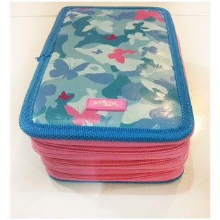 Smiggle Pencil Case with Butterfly blue series with 6 sections