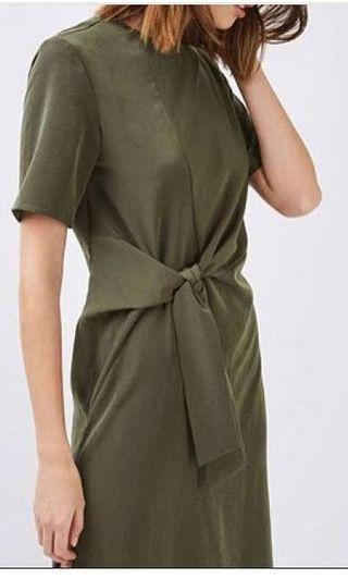 Topshop olive knot dress