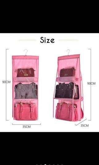 Bag storage organizer- pink color