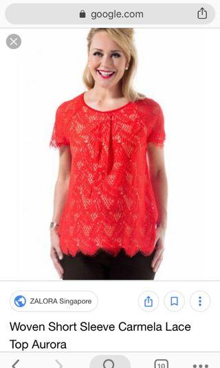 Red maternity lace top