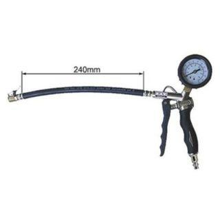 Tyre Inflator with 5cm Dial Gauge c\w Clip-On Chuck  Economical Quality Tyre Inflator Gauge that performs 3 functions - to deflate, inflate and check tyre pressure.   Suitable for Automotive,Bicycle,Motorcycle & Other Inflatables.