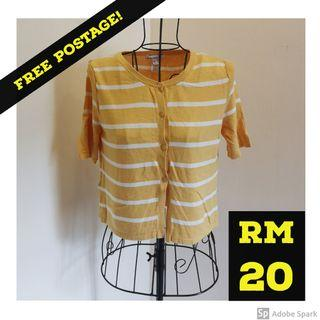 FREE POSTAGE MANGO Basic Cardigan Crop Top in Yellow Stripe