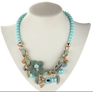 Flower Necklaces & Pendants trendy choker chunky metal chain statement simulated pearl necklace
