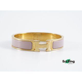Hermes 愛馬仕 Clic Clac H Bracelet Pink H字 鍍鈀金屬 粉色 手鐲 100%真品