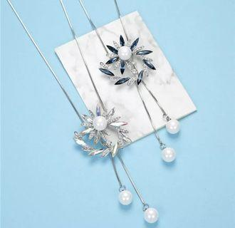 Big Round Flower Crystal Long Necklaces Pendants