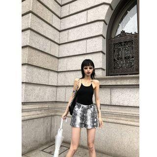 VM 春夏新款 復古時髦 硬挺版型顯瘦蛇紋闊腿短褲