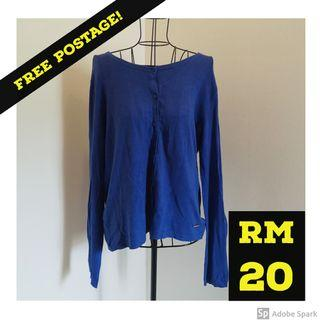 FREE POSTAGE : MANGO Cardigan Blue Long Sleeve Top