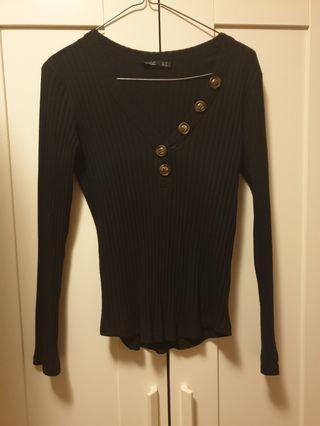 SASS long sleeve button top