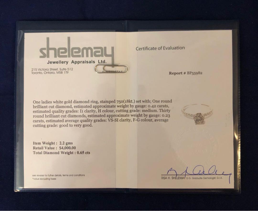 18k White gold diamond engagement ring *Appraised at $4,000 // Stunning !