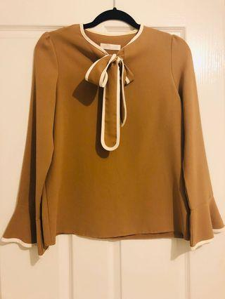 Beige and White Bow-tie Blouse