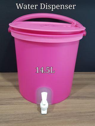 Tupperware Water Dispenser 14.5L (1) 32.7cm(D) include handle & Tap x 30.8cm(H)  Retail Price S$83.50  Now $62