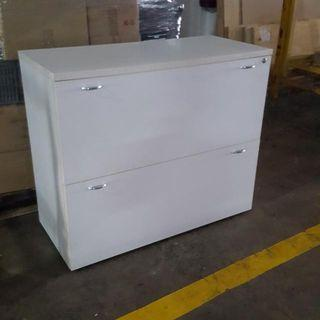 White Wooden 2 Wide Drawers Cabinet.. Only $60 Call Now 90899511 Good Condition