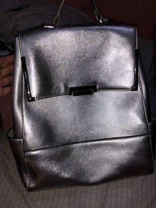 new look backpack silver