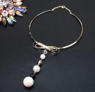 Pearl Torques Choker Necklaces Charm Bowknot Long Pendants