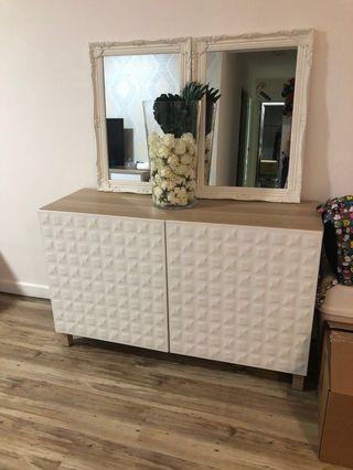 Ikea Besta storage cabinet with white textured doors / white stained oak