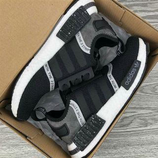 Adidas NMD R1 Primeknit Triple Black 針織面 潑墨黑F36801