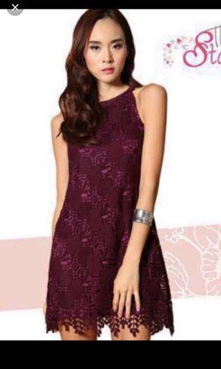 TSW Crochet Lace Maroon Dress #amplifyjuly35