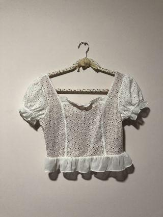 Bnwt crochet white square neck top #amplifyjuly35