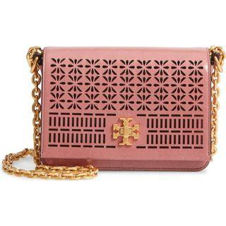 TORY BURCH KIRA PERFORATED CLUTCH (Pink Magnolia)