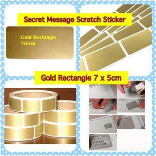 Secret Message Scratch Sticker -  Gold Rectangle (7x5cm)
