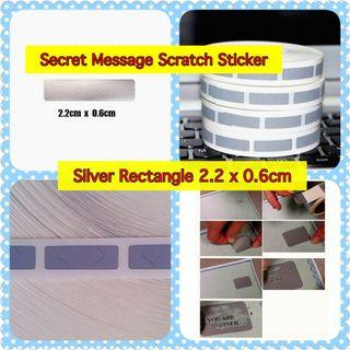 Secret Message Scratch Sticker -  Sliver Mini Rectangle  (2.2cm x 0.6cm)