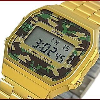 Casio 經典鋼錶 金色外殼+迷彩錶面