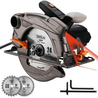 🚚 3A 711 (Brand New) TACKLIFE 1500W 4700RPM Circular Saw, Electric Saw with Laser, 2 Blades(185mm), Adjustable Cutting Depth and Angle: 45mm (45°) - 63mm (90°), Dust Extraction, Cut Wood, Soft Metal and Plastic - PES01A