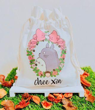 🚚 Personalised Cute Totoro Drawstring Pouch Lunch Bag for Teacher's Day Christmas Farewell Gifts Office
