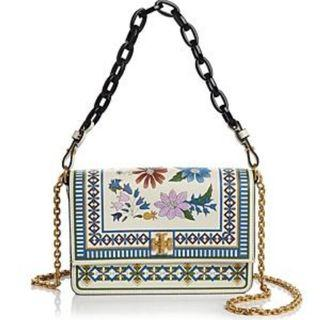 TORY BURCH KIRA FLORAL SHOULDER BAG (IVORY MEADOW FOLLY)