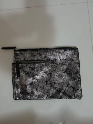 Sephora Black/Silver Glitter Clutch Bag