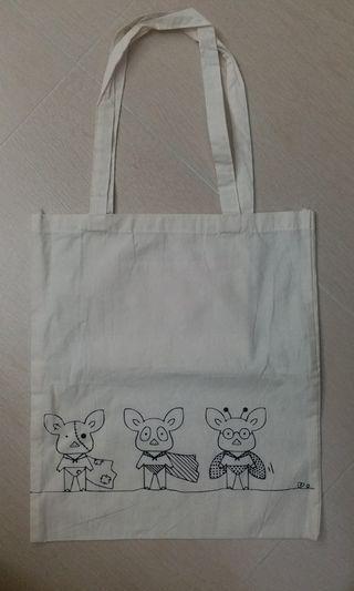 【包郵】自家設計 白色棉布 3隻飛豬 環保袋 獨一無二 Own Design Flying Pigs Tote Bag