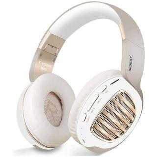 🚚 2C 742 (Brand New) Bluetooth Headphones, Riwbox WB5 Bluetooth 5.0 Wireless Foldable Headphones Over Ear with Microphone, 5 EQ Sound Modes, Soft Memory-Protein Earmuffs, Wireless and Wired Headset for PC (White Gold)