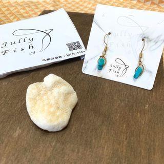綠松石耳環 綠松石飾品 簡約耳環 銅耳環 手作飾品